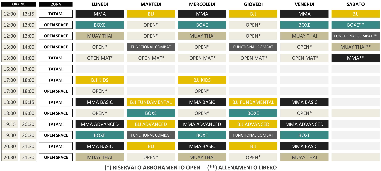 ORARIO CORSI_CLASS SCHEDULE_ MMA ATLETICA BOXE_SITO